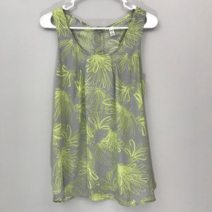 Grey and Green Razor Back Tank Top